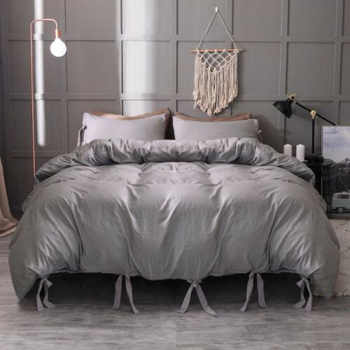 Duvet Cover Quilt Solid Pillowcase Twin King Size