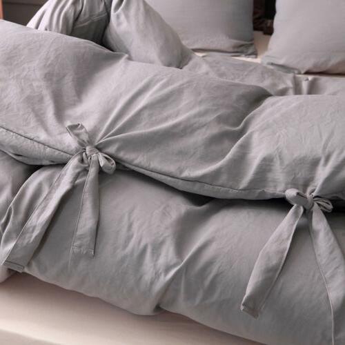 Duvet Comforter Quilt Solid Tie Pillowcase Twin Size