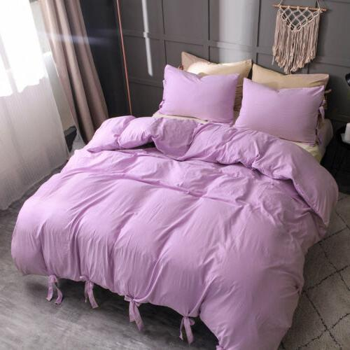 Duvet Cover Comforter Quilt Solid Strap Pillowcase Size