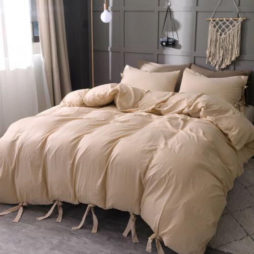Duvet Cover Quilt Strap Pillowcase Queen Size