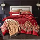 Egyptian cotton satin plain embroidered bedding set 4 pieces