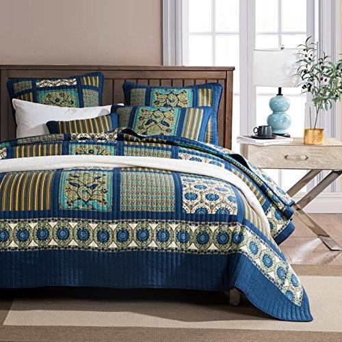 elegant striped forest patchwork quilted