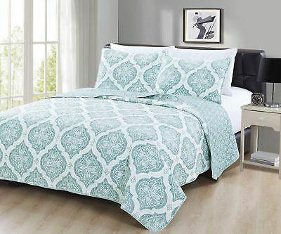 Embossed Microfiber 3 Piece Quilt Set / Bedspread. Arabesque