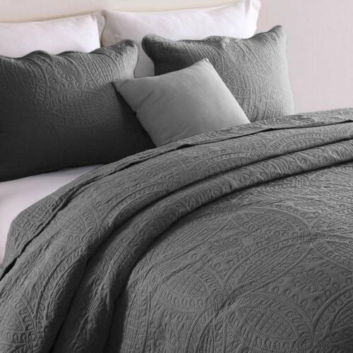 Embossed Bedspread Coverlet Quilt Set Bed Cover Lightweight