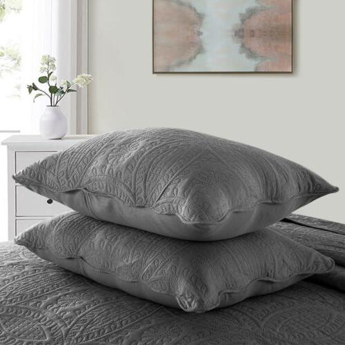 Embossed Quilted Coverlet Quilt Set with Shams Bedding