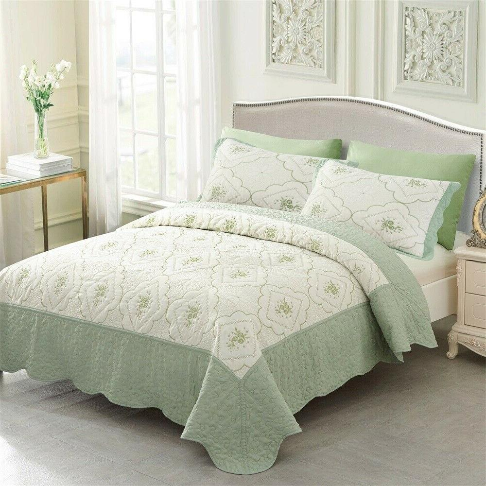 Quilt Set Embroidered Brushed Microfiber With 2 Bedspread
