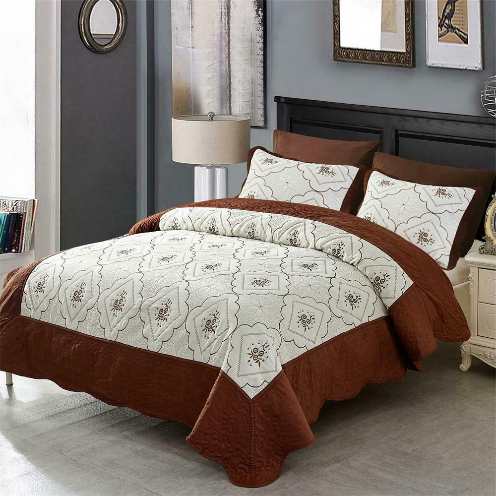 Quilt Embroidered Microfiber With Bedspread Coverlet