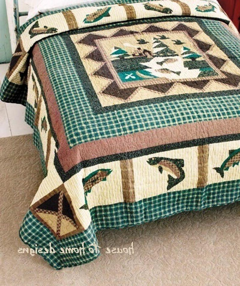 FISHING Full Queen QUILT SET : FISHERMAN COMFORTER