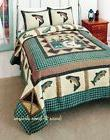 FISHERMANS WHARF 3pc King QUILT SET : RIVER FISHING GREEN PL
