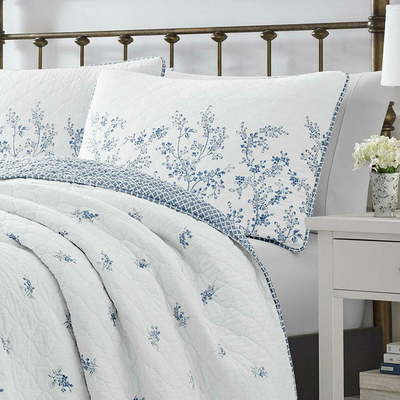 LAURA Flora Blue & Floral Toile Cotton Quilt SET 3pc