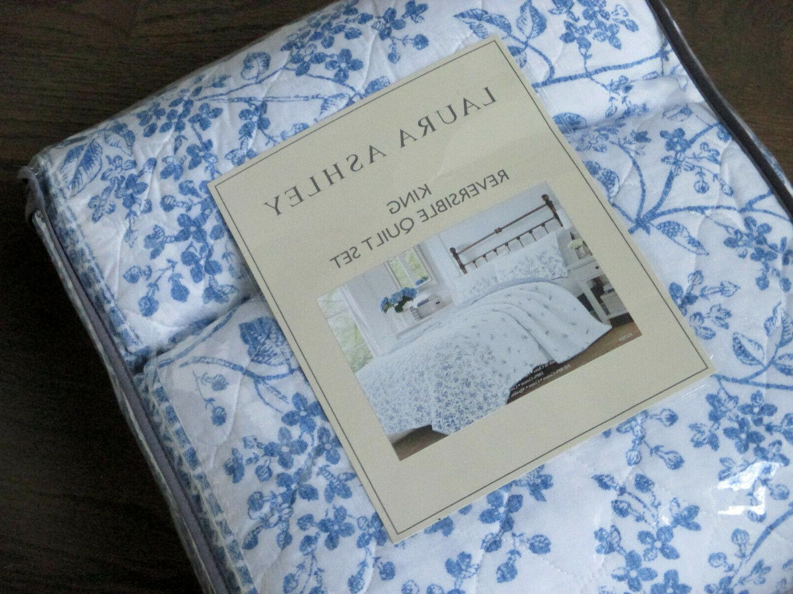 flora blue and white floral toile cotton