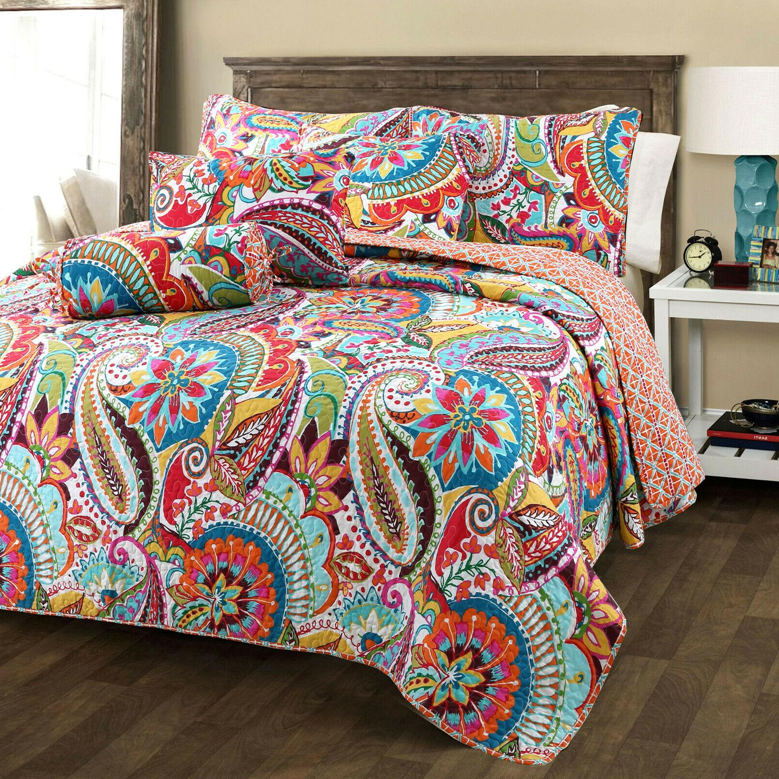 gypsy 3 piece reversible quilt set bedspread
