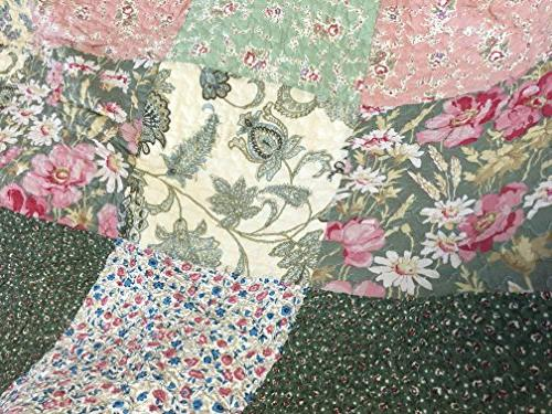 Floral Green Pink Country, 100% Cotton Edge,Gifts for