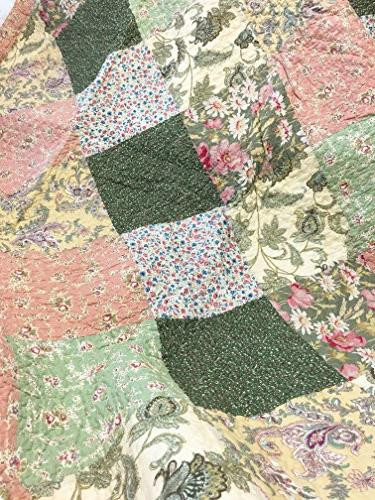 Cozy Line Floral Green Pink Cotton Quilt Reversible Coverlet Bedspread, Edge,Gifts