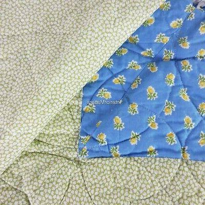 LAURA Patchwork QUEEN QUILT Yellow Blue White