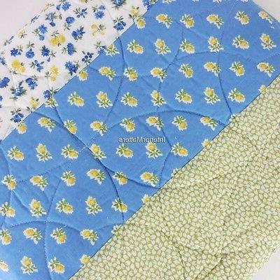 LAURA ASHLEY Floral Patchwork QUEEN QUILT Blue White