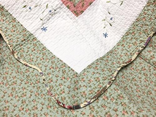 Cozy Line Floral Pink Lilac 100% COTTON Quilt Bedding Set, Reversible Edge,Gifts
