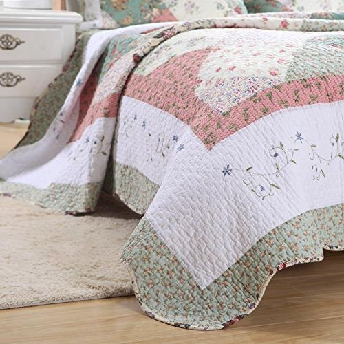 Cozy Line Floral COTTON Bedding Reversible Coverlet Bedspread, Edge,Gifts Women