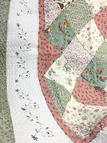 Cozy Floral Patchwork Green Pink COTTON Quilt Bedding Reversible Scalloped Edge,Gifts for