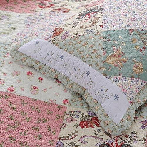 Cozy Line Fashions Floral Patchwork Pink COTTON Quilt Reversible Coverlet Bedspread, Edge,Gifts for Women