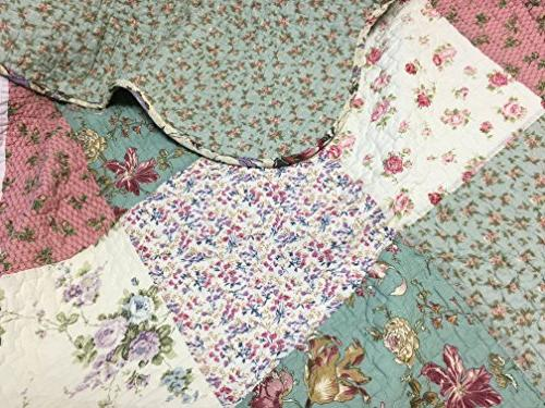Cozy Line Fashions Floral Patchwork Green Pink Lilac COTTON Reversible Bedspread, Edge,Gifts for