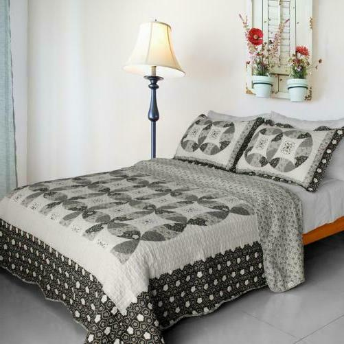 francesca cotton 3pc vermicelli quilted printed quilt