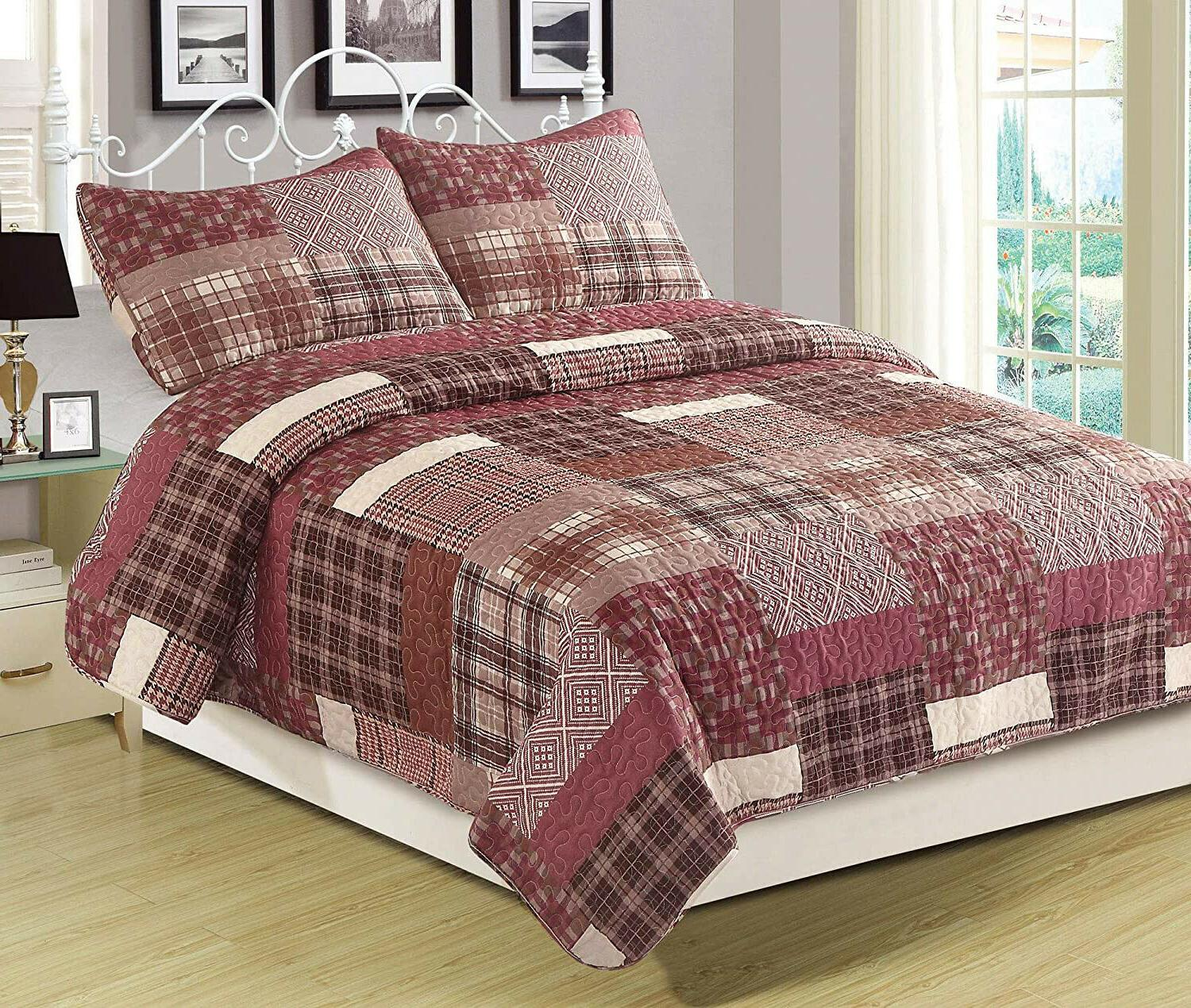 full queen or king quilt red plaid