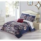 Chic Home Gaara Purple 4-Piece Reversible Quilt Cover Set wi