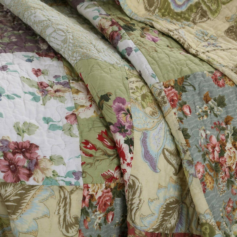 Greenland Home Blooming Prairie Cotton Patchwork Quilt Set, 5-Piece Full/Queen
