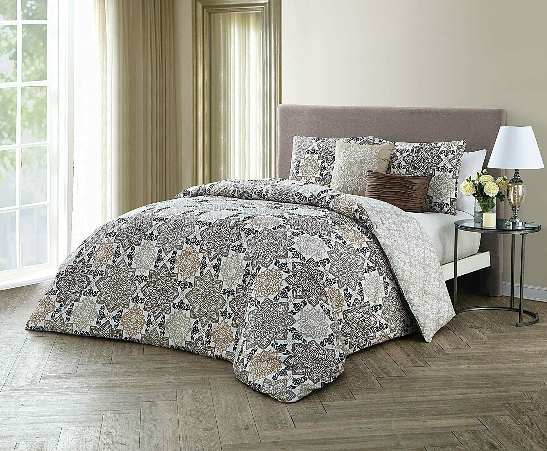 greer taupe reversible 5 pc queen comforter