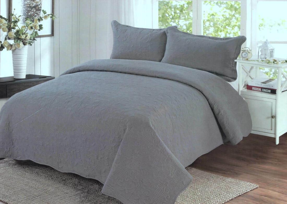 grey quilt set king queen 3 piece