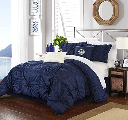 Chic Home 6 Pinch Pleated Embellished with Shams Navy