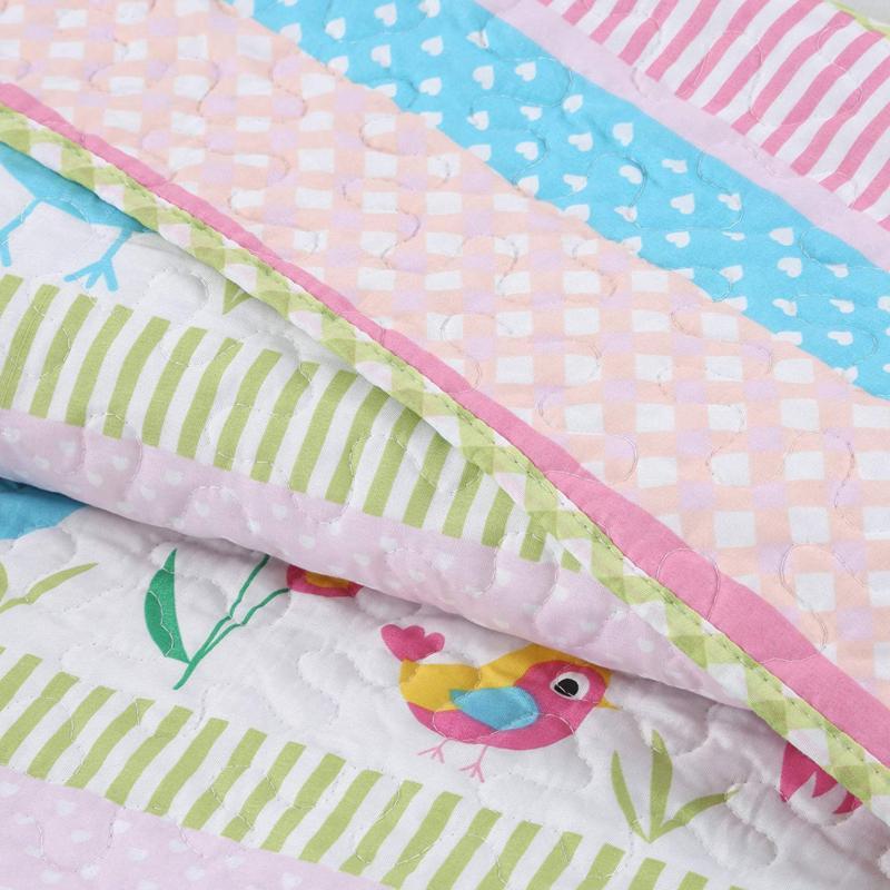 Cozy Happy Owl Pink Reversible Quilt Bedding Set, B