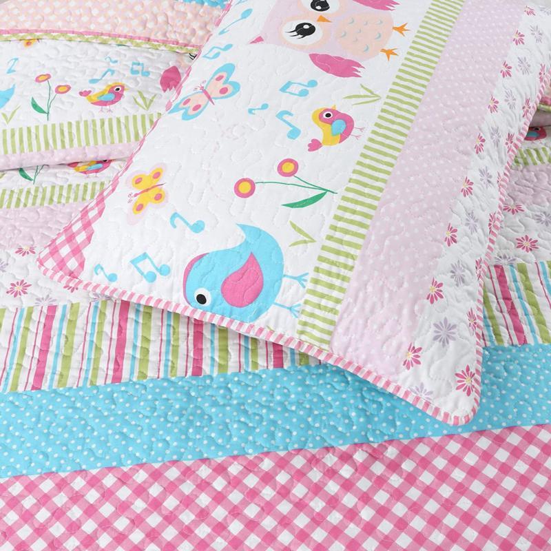 Cozy Line Home Fashions Happy Owl Reversible Quilt Set,
