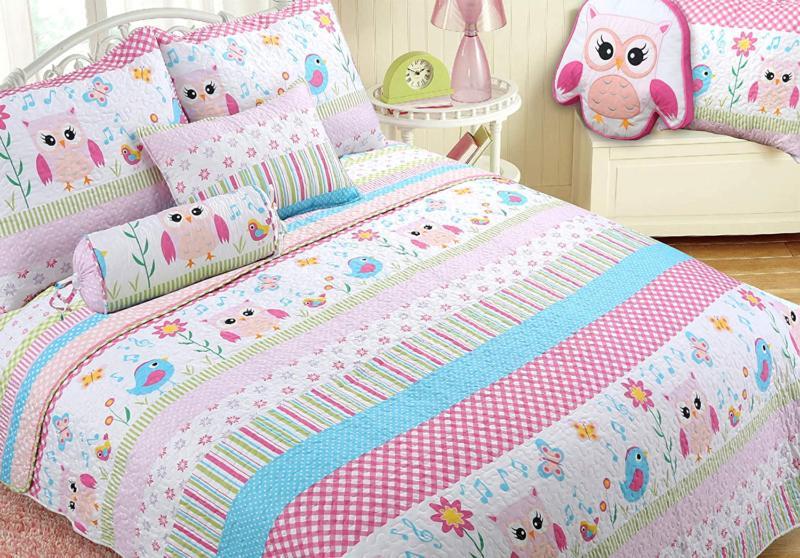 happy owl pink reversible quilt bedding set