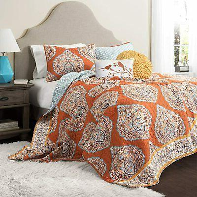 lush decor harley quilt set damask pattern