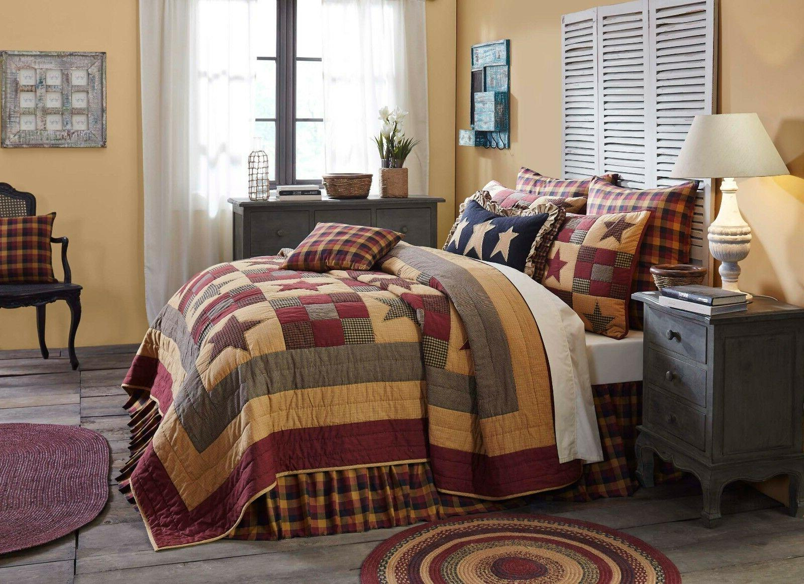 HAZELWOOD 3pc Luxury Quilt Ninepatch Star Check Farmhouse