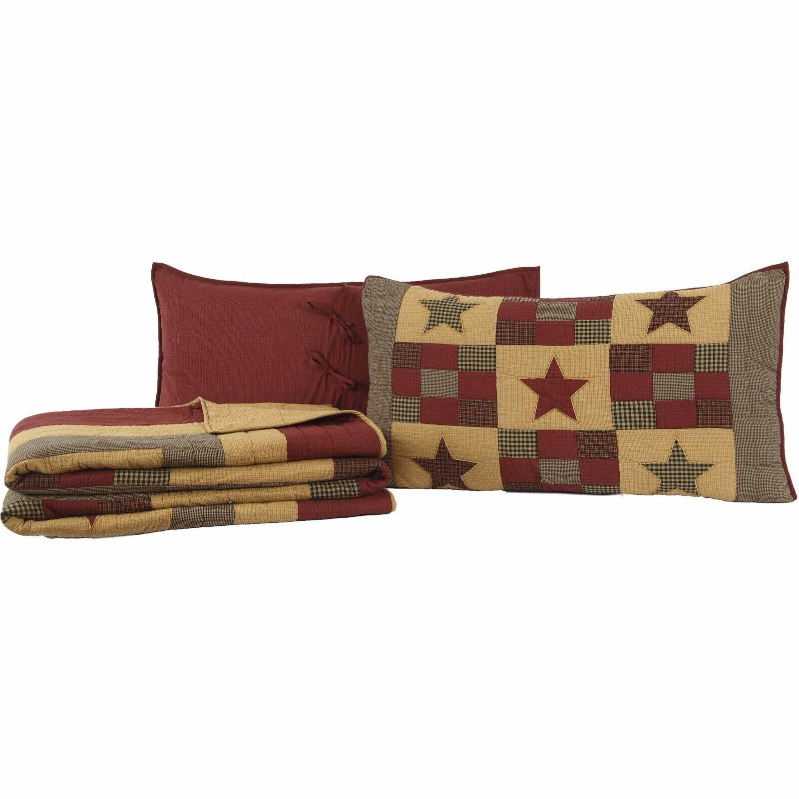 HAZELWOOD 3pc Luxury King Quilt SET Ninepatch Block Star Plaid Check