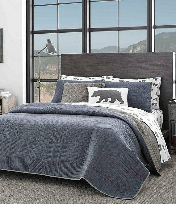 hidden lake king quilt set denim blue