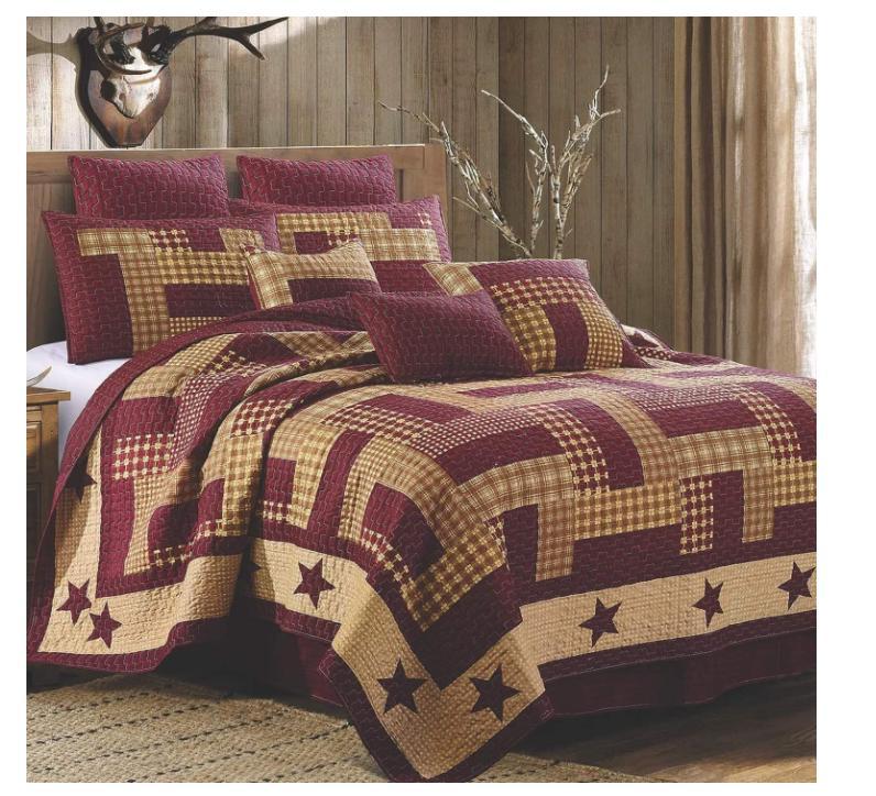 homestead red barn star king quilt set