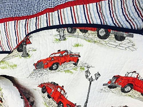 100% cotton 2 piece Strip Set Quilt Bedding Twin
