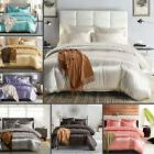 IK- Modern Solid Color Quilt Cover Pillow Case Comfortable 2