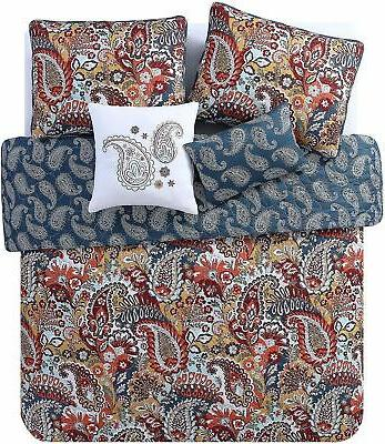 in breeze paisley reversible quilt set