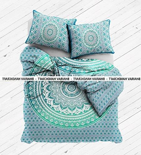 NEW Full Cotton green Duvet Cover -Hippie Doona set size Blanket Bedspread Bedding Comforter With 2 By BHAIRAV