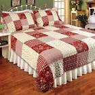 isabella red king quilt set country patch