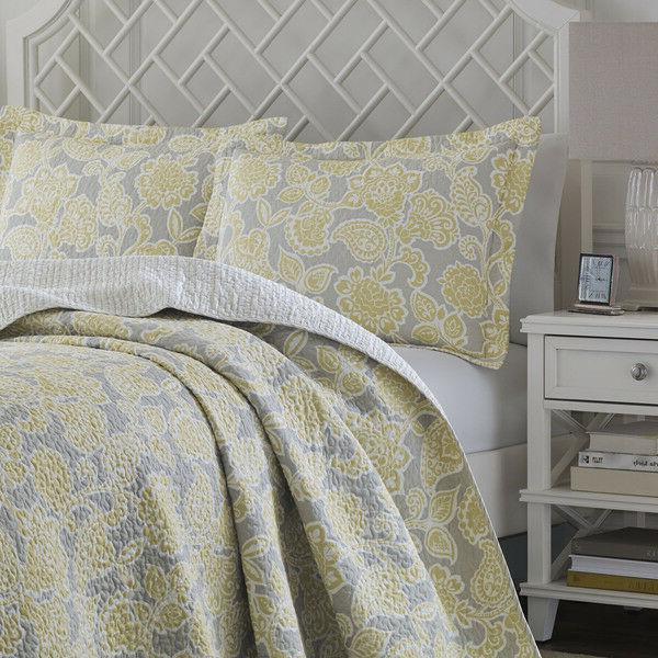 joy grey yellow reversible cotton quilt set