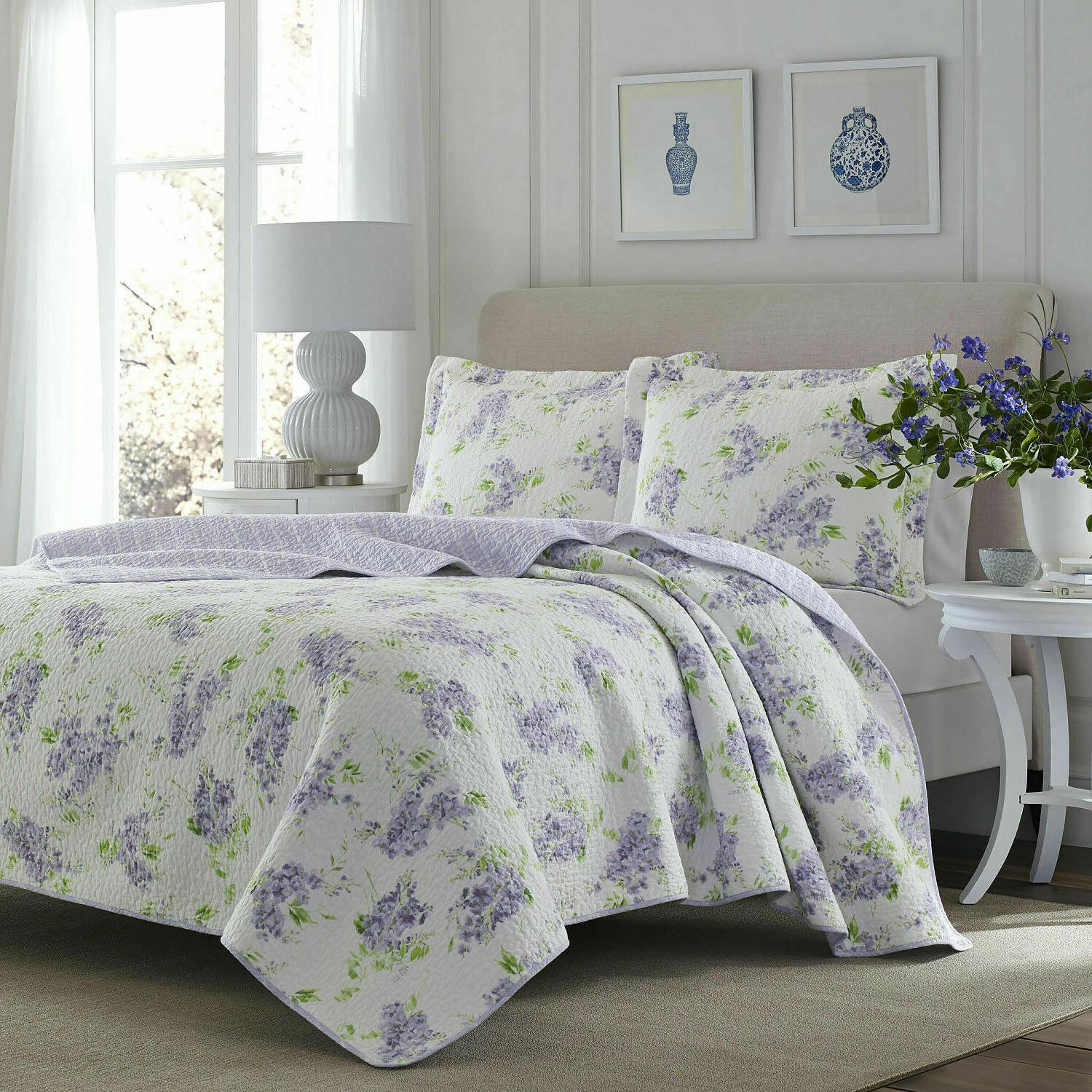 Laura Ashley Keighley Floral Lilac Cotton 3-PC Quilt ,Coverl