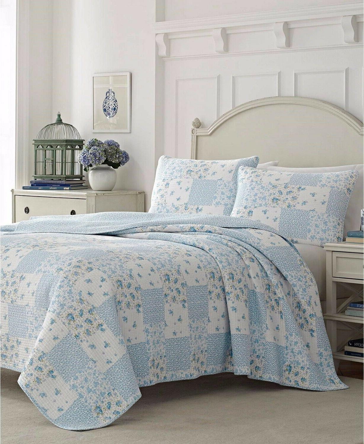 NEW in BAG Laura Ashley 3 Piece Kenna Blue Reversible Quilt