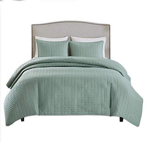 Comfort Spaces Quilt Mini - 3 Piece Seafoam - - 1 2 Shams