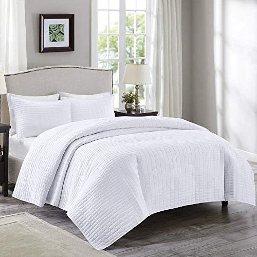 Comfort Spaces - Kienna Quilt Mini Set - 2 Piece - White- St